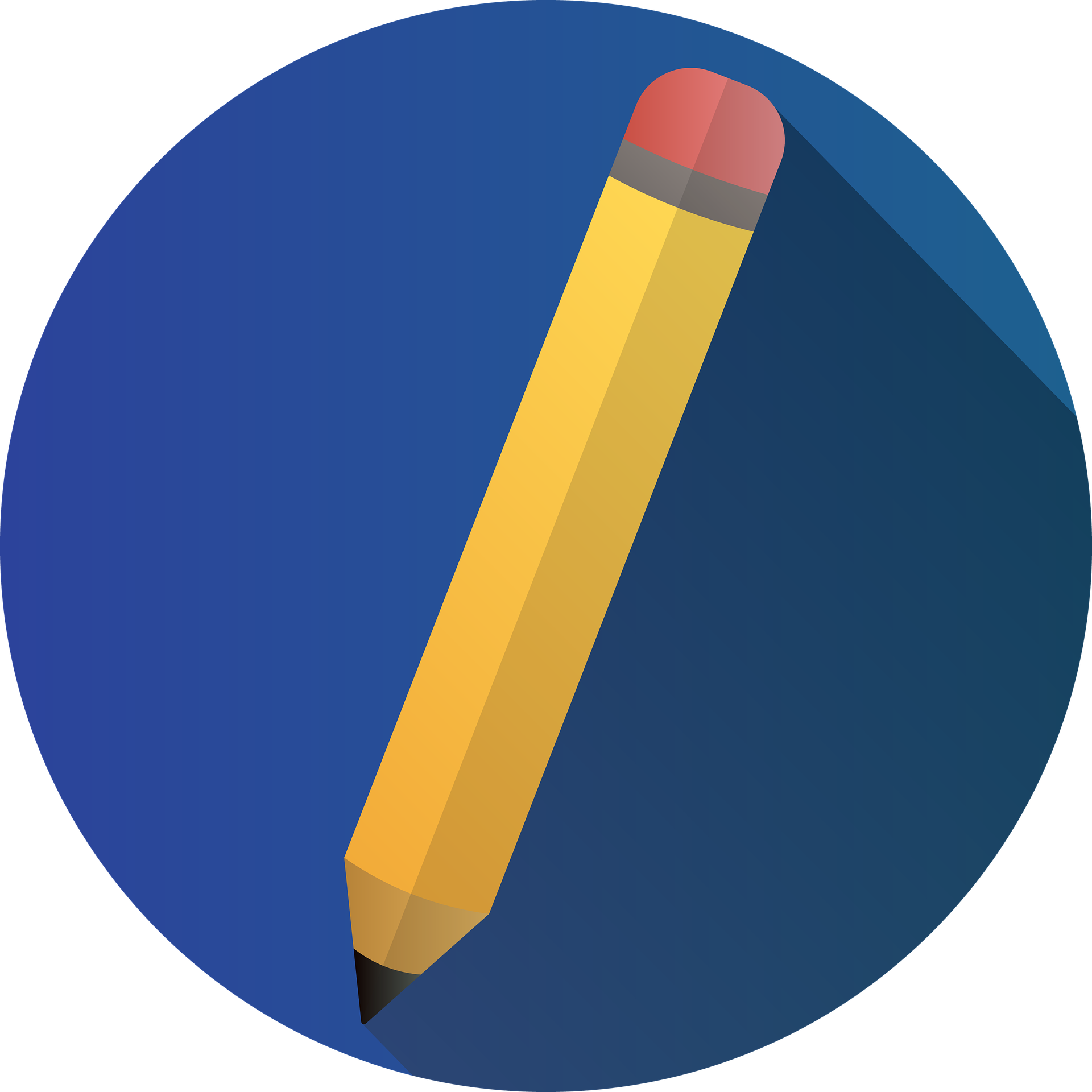 Illustration of pencil on blue background